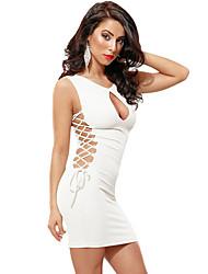 Damen Bodycon Kleid-Klub Sexy Solide Rundhalsausschnitt Mini Ärmellos Rot / Weiß / Schwarz Polyester / Elasthan Sommer