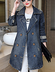 Women's Going out / Casual/Daily / Plus Size Simple Fall Denim Jackets,Solid Shirt Collar Long Sleeve Blue Cotton Medium