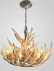 cheap -Vintage Antler Chandelier Lighting 6-Lights Easy Installation Resin Materials
