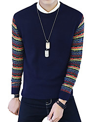 Men's Japan Style Slim Stitching Knit Pullover,Wool / Cotton Long Sleeve Blue
