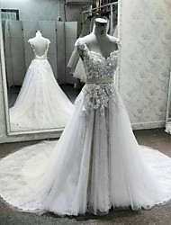 A-Line V-neck Cathedral Train Lace Tulle Wedding Dress with Beading Appliques by DRRS
