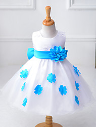 cheap -Sheath / Column Knee-length Flower Girl Dress - Organza / Polyester Sleeveless Jewel with