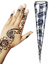 Black Herbal Henna Cones Temporary Tattoo Kit Body Art Mehandi Ink Hina Temporary Tattoos Henna Tattoos Designs Instant Tattoo Paste Adhesive Stencils