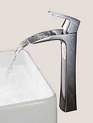 Недорогие -Смеситель для раковины ванной комнаты - Водопад хромированная центральная часть на одно отверстие / одна ручка