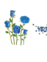 cheap -Blue Rose Flowers Wall Sticker Beautiful Forals Love You Wall Decals for Family Love