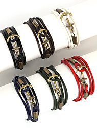 Beadia 1Pc Leather Wrap Bracelet Anchor Charm Bracelet