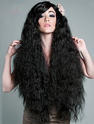 Donna Parrucche sintetiche Molto lungo Riccio Nero parrucca nera costumi parrucche