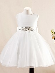 A-Line Short / Mini Flower Girl Dress - Tulle Sleeveless Jewel Neck with Bow(s) Crystal Detailing