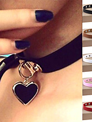 cheap -Women's Heart Leather Silver Plated Choker Necklace Pendant Necklace Collar Necklace  -  Personalized Vintage Casual Circle Light Brown