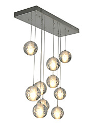 cheap -Modern Led Pendant Light 10 Lights G4 Bulbs included Warm White Metal Chrome Crystal Globes for Dinning Room