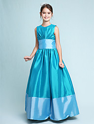 A-Line Princess Jewel Neck Floor Length Taffeta Junior Bridesmaid Dress with Draping Sash / Ribbon by LAN TING BRIDE®