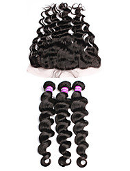cheap -6A Grade Unprocessed Malaysian Virgin Hair Bundles With Lace Frontal  Free Part Loose Wave Fast Shipping