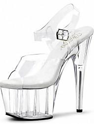 abordables -Mujer-Tacón Stiletto Plataforma Tacón de cristal-Plataforma-Tacones-Boda Vestido Fiesta y Noche-PVC-Transparente
