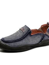 baratos -Homens sapatos Pele Couro Primavera Outono Conforto Mocassins e Slip-Ons para Casual Cinzento Azul Khaki