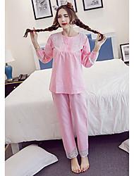 abordables -Mujer Algodón Pijamas - Estampado, Color sólido