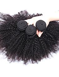 3pcs beaucoup 8-26 pouces non transformés mongol cheveux vierges naturelle couleur noire afro crépus bouclés d'armure de cheveux humains