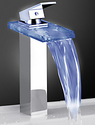 cheap -Contemporary Vessel Waterfall Touch/Touchless LED Brass Valve Single Handle One Hole Chrome , Bathtub Faucet Kitchen faucet Bathroom Sink