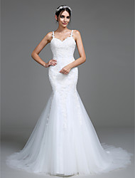 cheap -Mermaid / Trumpet Straps Court Train Tulle Wedding Dress with Appliques by LAN TING BRIDE®