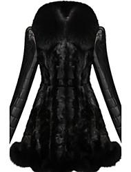 Женский На каждый день / Вечеринка/коктейль / Большие размеры Однотонный / Контрастных цветов Пальто с мехом Воротник шалевого типа,Секси