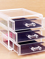 cheap -Acrylic Transparent Three Layer Cosmetics Storage Drawer Quadrate Cosmetic Organizer