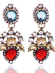 Vintage Design Ethnic Brincos Femme Crystal Flower Drop Earrings For Women Pendientes Earings Fashion Jewelry