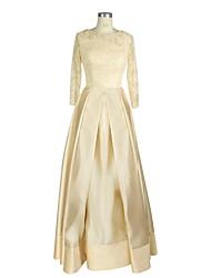 a-line jewel neck lunghezza pavimento lunghezza satin madre del vestito sposa con paillettes by nameilisha