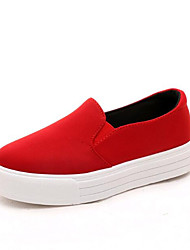 cheap -Women's Shoes Canvas Spring / Fall Loafers & Slip-Ons Walking Shoes Platform / Creepers Ruched Black / Red