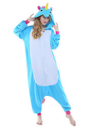 kigurumi Pyjamas New Cosplay® Cheval volant Unicorn Collant/Combinaison Fête / Célébration Pyjamas Animale Halloween Bleu Mosaïque Polaire