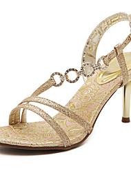 cheap -Women's Sandals Spring Summer Comfort Leatherette Dress Casual Stiletto Heel Buckle Walking