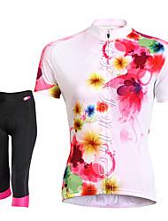 baratos -TASDAN Mulheres Manga Curta Camisa com Shorts para Ciclismo - Preto Moto Shorts Camisa/Roupas Para Esporte Conjuntos de Roupas, Tapete