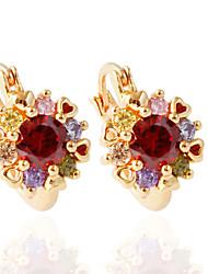 abordables -1 par / rojo / blanco / pendientes de oro elegante estilo femenino clásico