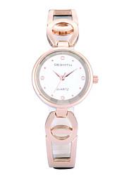 baratos -REBIRTH Mulheres Relógio de Pulso Relógio Casual / / Rosa Folheado a Ouro / PU Banda Casual / Fashion / Elegante Preta