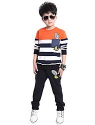 Недорогие -Мальчик Набор одежды,На каждый день,Полоски,Хлопок,Весна / Осень,Зеленый / Оранжевый
