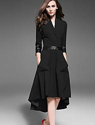 Damen Swing Kleid-Ausgehen Street Schick Punkt Tiefes V Asymmetrisch ¾-Arm Schwarz Polyester Herbst