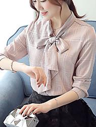 Mulheres Blusa Formal / Trabalho Simples / Fofo Primavera / Outono,Sólido Branco / Roxo Poliéster Colarinho de Camisa Manga Longa Fina