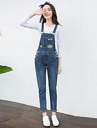 economico -Da donna Romantico Anelastico Jeans Tuta da lavoro Pantaloni,Tinta unita Cotone Poliestere Autunno