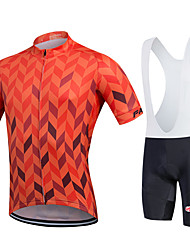 cheap -Fastcute Men's Short Sleeves Cycling Jersey with Bib Shorts - Black Geometic Bike Bib Shorts Bib Tights Jersey, Quick Dry, Breathable,