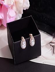 cheap -18k Gold AAA Zircon Drop Shape Stud EarringsImitation Diamond Birthstone