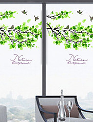 cheap -Window Film Window Decals Style Fresh Green Leaves Matte PVC Window Film - (60 x 58)cm