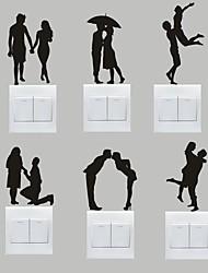 AYA™ Set of 6 DIY Creative Sweet Couple Switch Stickers Wall Decor