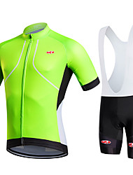 cheap -Fastcute Men's Women's Short Sleeves Cycling Jersey with Bib Shorts - Black Bike Bib Shorts Bib Tights Jersey Clothing Suits, Quick Dry,