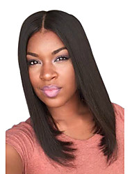 New Jet Black Middle Length Center Parting Hairstyles Natural Top Quality Straight Wig