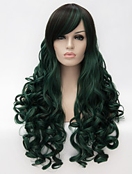 cheap -Women Synthetic Wigs Capless Long Curly Green With Bangs Halloween Wig Carnival Wig Party Wig Costume Wig