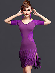 abordables -Danse latine Robes Femme Spectacle Rayonne Chinlon Tulle Dentelle 2 Pièces Manche courte Taille moyenne Robe Short