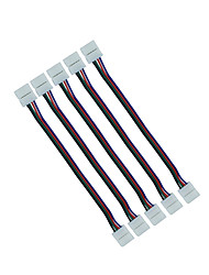 5Pcs 10mm 4pin RGB Connector Wire Double Jack Wire for Connecting 5050 RGB Led Strip to Strip