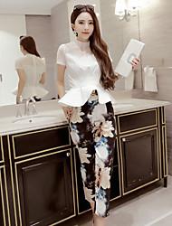 Dámské Jednobarevné Jdeme ven Vintage / Roztomilé Sada Sukně Obleky-Jaro Bavlna Tričkový Krátký rukáv Bílá Neprůhledné