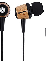 cheap -Awei Q9 Super Bass Wooden Headphones Earphones Headsets Fiber Cable for Mp3 CellPhone