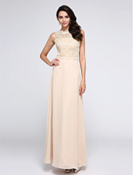 Sheath / Column Jewel Neck Ankle Length Chiffon Lace Prom Formal Evening Dress with Lace by TS Couture®