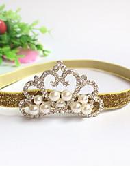 abordables -bandas para la cabeza de la perla tiaras tela de flores niña coreana