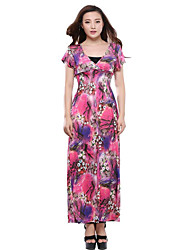cheap -Women's Plus Size Boho Sheath Dress,Print V Neck Maxi Short Sleeve Summer(Not including Tube Top)